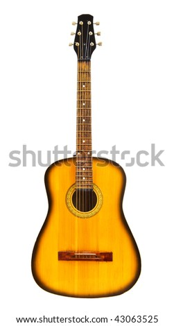 yellow acoustic guitar isolated on white