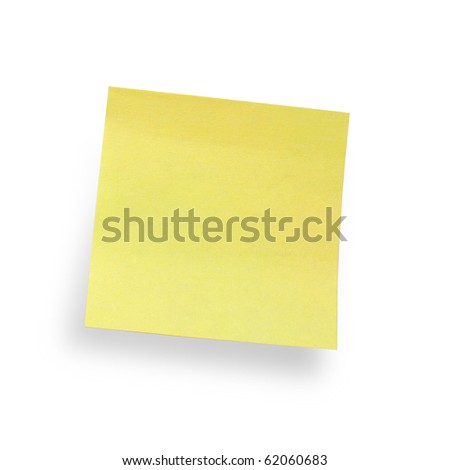 yellow adhesive note isolated on white background, clipping path included