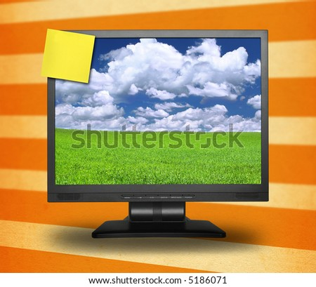 yellow adhesive note on lcd screen, gentle shadow behind, photo inside is my property, - stock photo