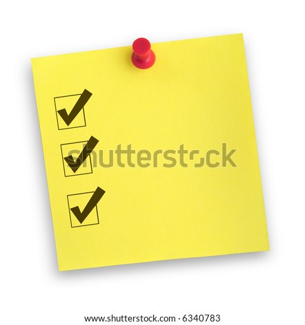yellow adhesive note with completed checklist against white, gentle shadow underneath - stock photo