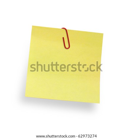 yellow adhesive note  with paper clip isolated on white background, clipping path included - stock photo