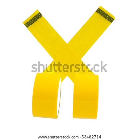 Yellow adhesive tape on a white background