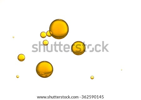 Yellow air bubbles isolated over a white background - stock photo