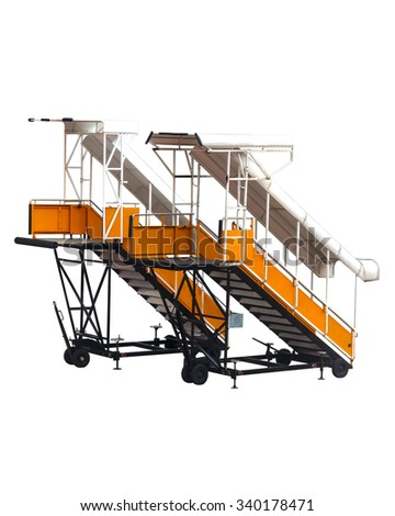 Yellow aircraft passenger stairs with white background for passengers to walk up the plane when aircraft was parked far from the terminal. - stock photo