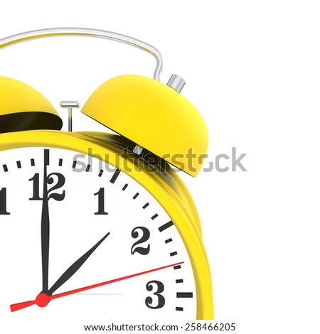 yellow alarm clock isolated on white background. 3d render. - stock photo