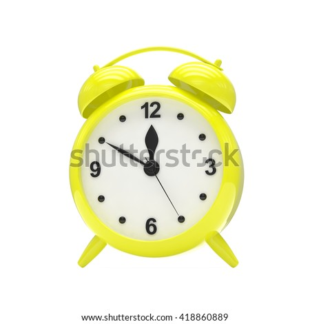 Yellow alarm clock on white. 3d rendering.