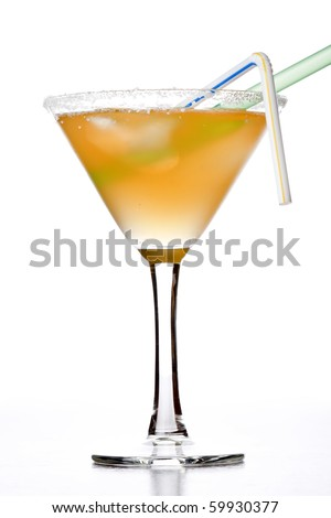 yellow alcoholic cocktail - stock photo