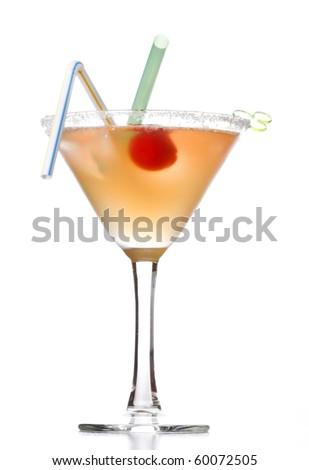 yellow alcoholic cocktail - stock photo