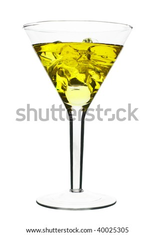 Yellow Alcoholic Cocktail in martini glass with ice. Isolated on White Background - stock photo