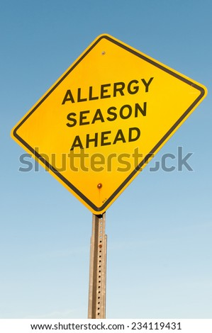Yellow allergy season ahead highway road sign - stock photo