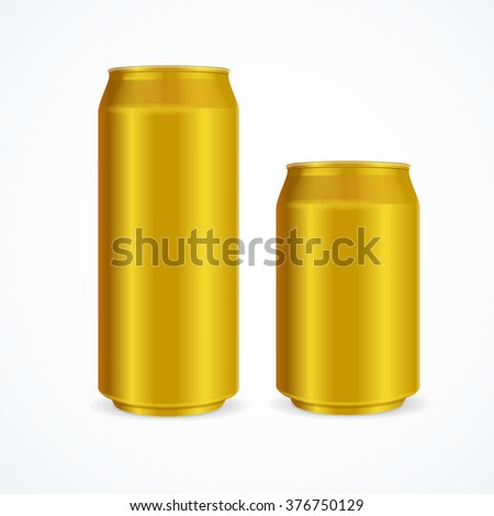 Yellow Aluminum Cans Different Size. illustration