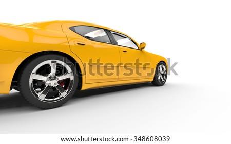Yellow American Car Speed Shot - stock photo