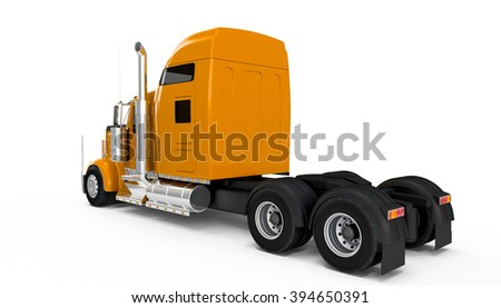 Yellow american truck back perspective view isolated on white background - stock photo