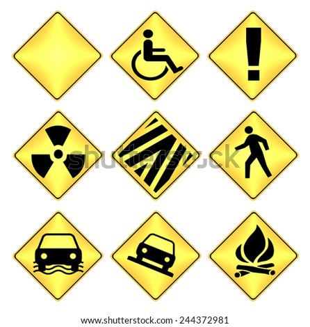 Yellow and black caution road signs