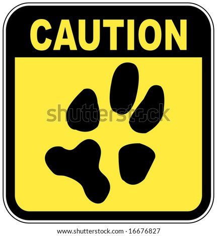 yellow and black caution sign with paw print - no pets - stock photo