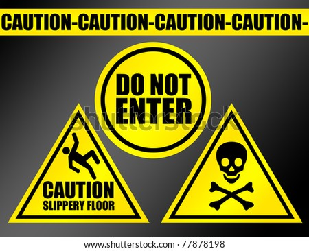 yellow and black caution signs over black background.illustration - stock photo