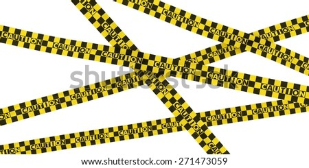 Yellow and Black Checkered CAUTION Tape Background - stock photo