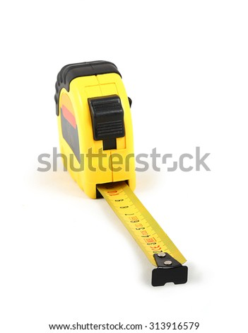 Yellow and black construction tape measure with extended. White background. - stock photo