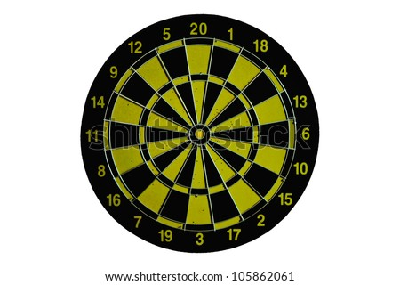 Yellow and Black dart board isolated on white background - stock photo