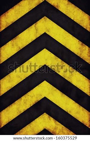 Yellow and black grunge warning stripes background - stock photo