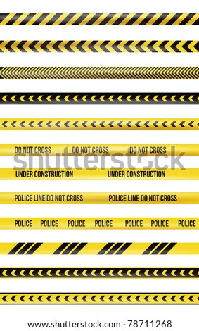 Yellow and black police tape - stock photo