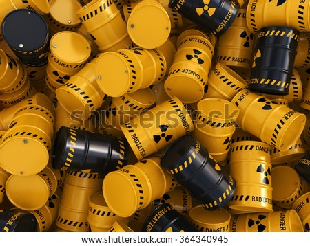 Yellow and black radioactive barrels on a white background