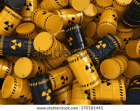 Yellow and black radioactive barrels on a white background - stock photo