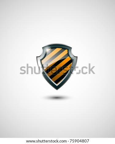Yellow and black shield jpg version - stock photo