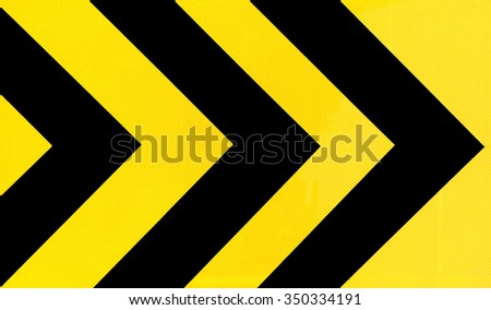 Yellow and black Traffic sign curve - stock photo