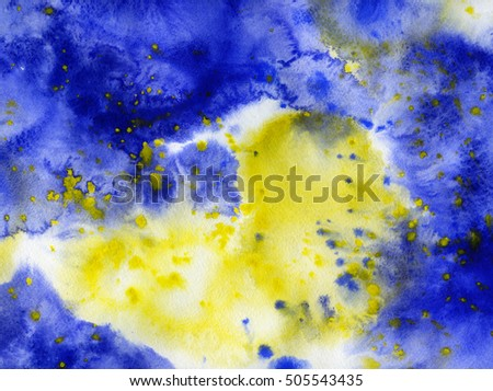 Yellow and blue abstract background, hand drawn watercolor artwork