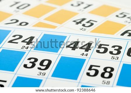 Yellow and blue Bingo cards - stock photo