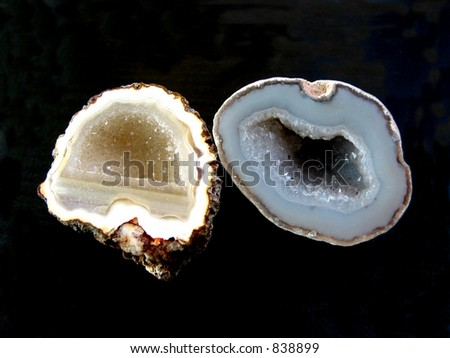 Yellow and blue geodes on the black background