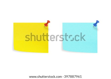 Yellow and Blue sticky notes isolated on white background.  - stock photo