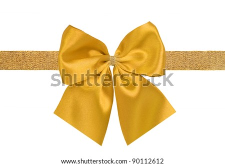 yellow and golden gift satin ribbon bow on white background - stock photo