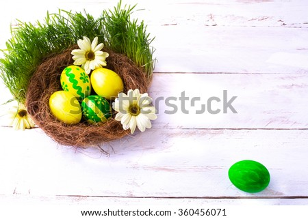 yellow and green Easter eggs in a nest with yellow daisies flowers in the green fresh grass on the white wooden background. Easter background. Easter symbol. Easter hunt. Copy space - stock photo