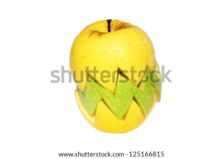 Yellow and green sliced apple with moisture - stock photo