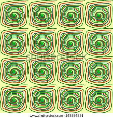 Yellow and green spirals pattern