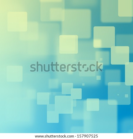 Yellow and green square bokeh on blue and teal background - stock photo