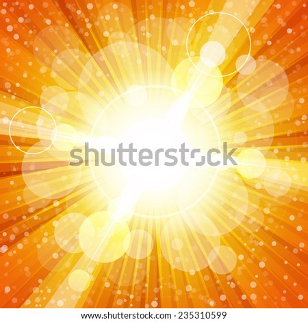 Yellow and orange colorful burst of light with lens flares illustration