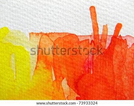 Yellow and Orange Watercolor - stock photo