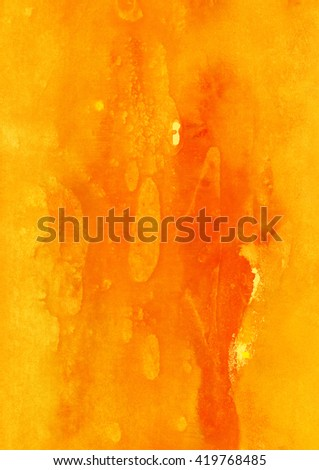 yellow and orange watercolor on paper, vertical fire background, formal, hot gamma - stock photo