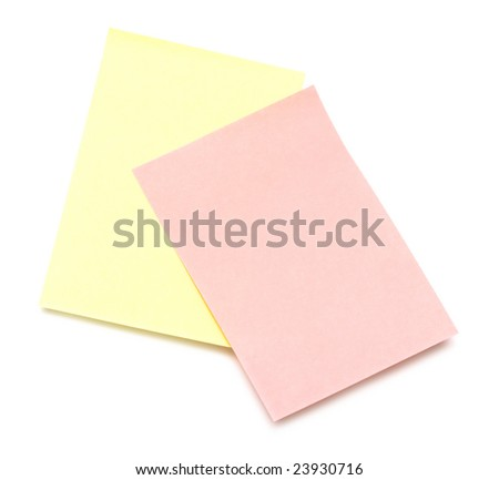 yellow and pink pages of notebook on white - stock photo