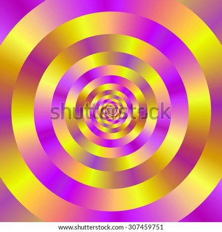 Yellow and Pink Spiral Rings / A digital abstract fractal image with a ringed spiral design in yellow and pink. - stock photo