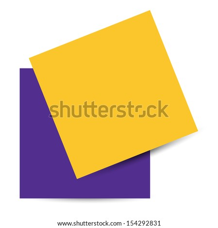 Yellow and purple stick note isolated on white background. Raster image. - stock photo
