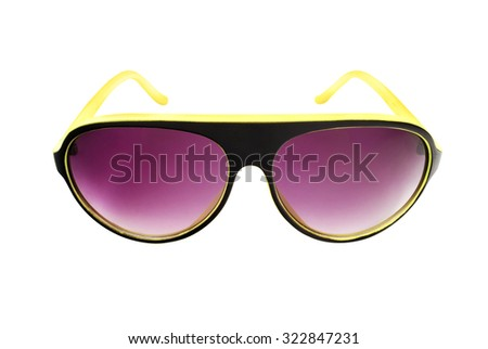 Yellow and purple sunglasses isolated on white. - stock photo