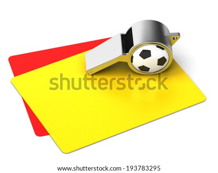 yellow and red cards, a whistle on a white background  - stock photo