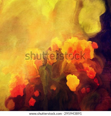 yellow and red flowers abstract splashed oil painting background  - stock photo