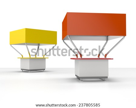 yellow and red kiosks or booths for customizing. View from