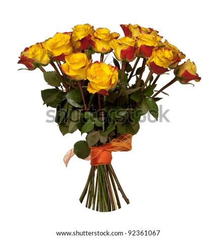 Yellow and Red roses bouquet isolated on white background - stock photo