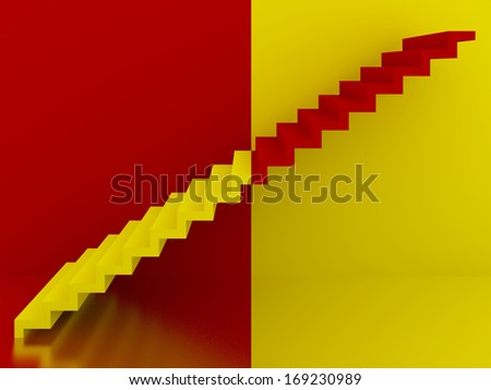 yellow and red stairs in interior,3d